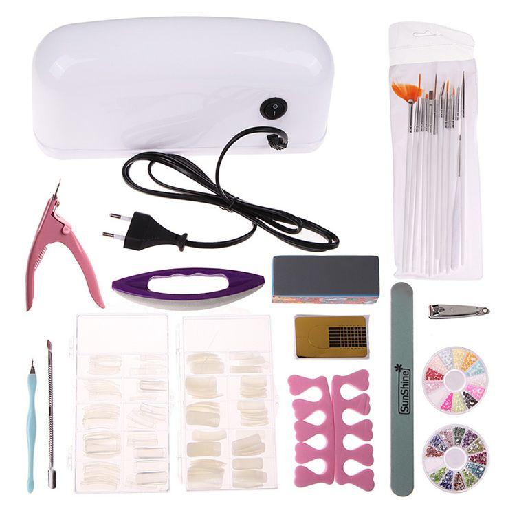 Moda 9 W secador de unhas Kit Nail Art cutícula empurradores calo barbeadores Dotting ferramentas strass decoração de unhas postiças alishoppbrasil