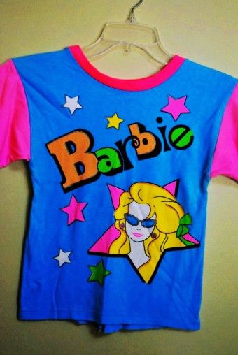 Vintage 1980s BARBIE Doll Neon Bright Star T-Shirt size 10 - 12 - Beauty treats: neon shirt to indulge in now by melis1313