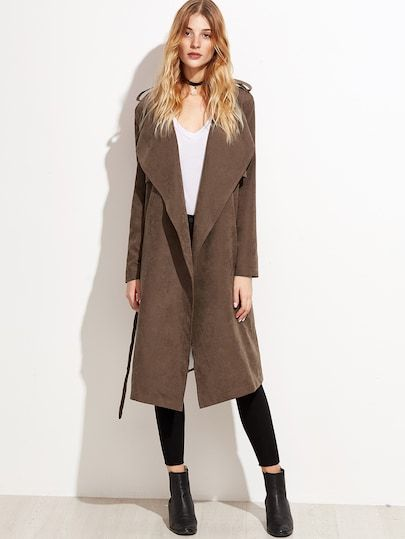 Shop Brown Suede Layered Wrap Coat online. SheIn offers Brown Suede Layered Wrap  Coat   more to fit your fashionable needs. 7138b9bcec2a