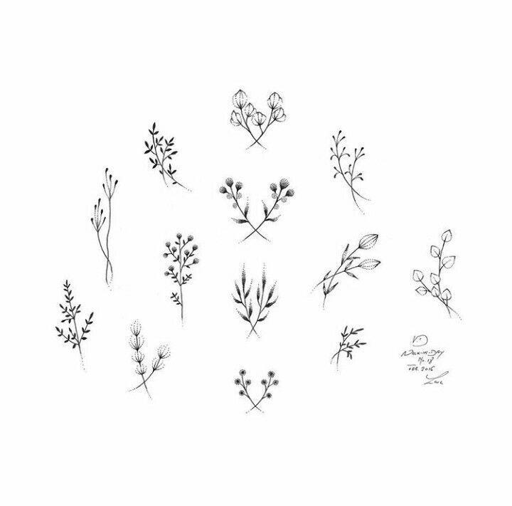 2017 trend Tiny Tattoo Idea - stick 'n poke floral designs                                                ...