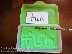 Cute idea for practicing writing words and letters.