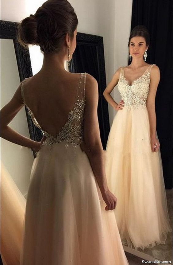 A Line V Neck Yellow Lace Prom Dresses,2019 Beaded Long Prom Dresses Contact us:…
