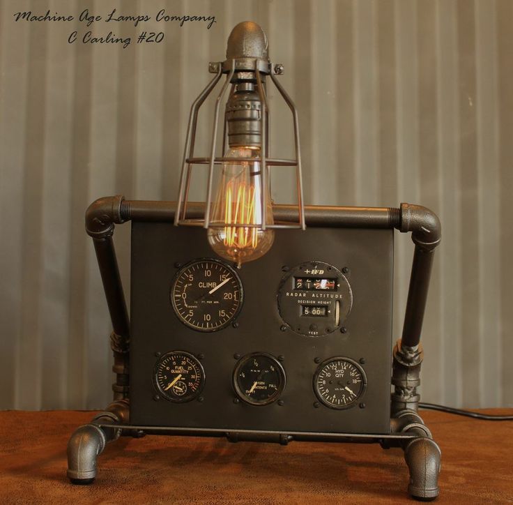 Industrial Instrument Panel : Steampunk machine age aviation lamp instrument control