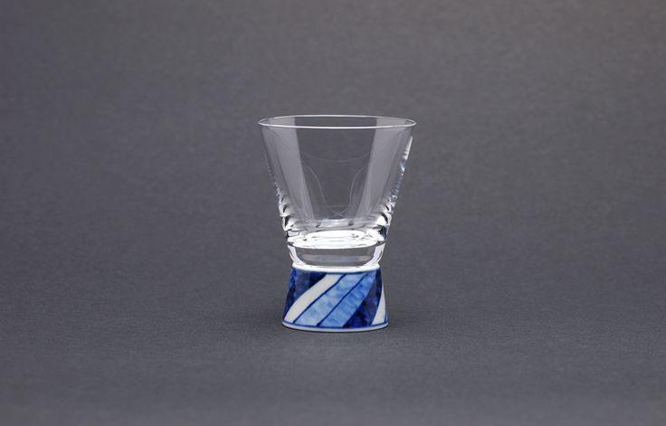清峰堂 九谷和グラス(ショットグラス/染付ネジリ十草)