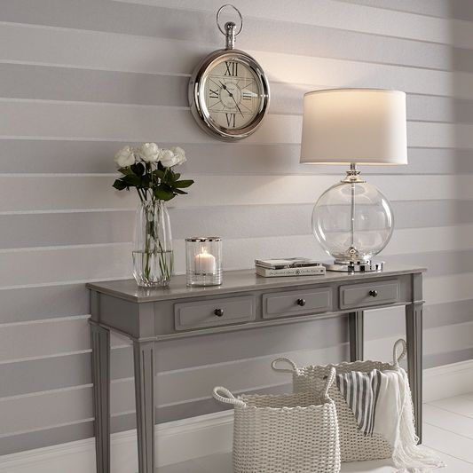 Baroque Bead Stripe Platinum Wallpaper | Graham & Brown UK