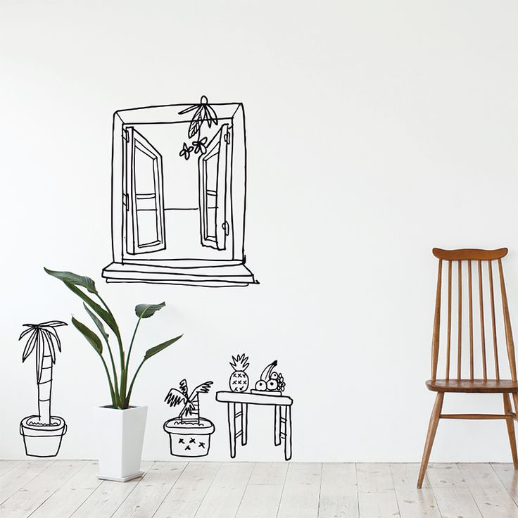 Vinilo Ventana palmera y frutas by Carrmen ::: Chispum wall art sticker decals