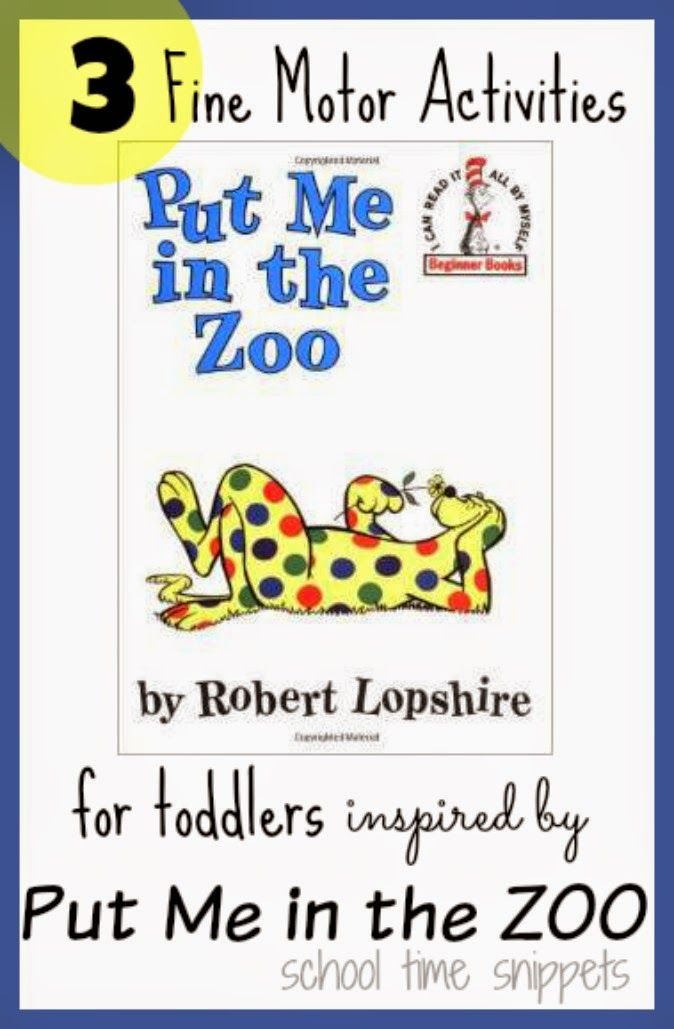 School Time Snippets: Put Me In the Zoo Fine Motor Activities. Pinned by SOS Inc. Resources. Follow all our boards at pinterest.com/sostherapy/ for therapy resources.