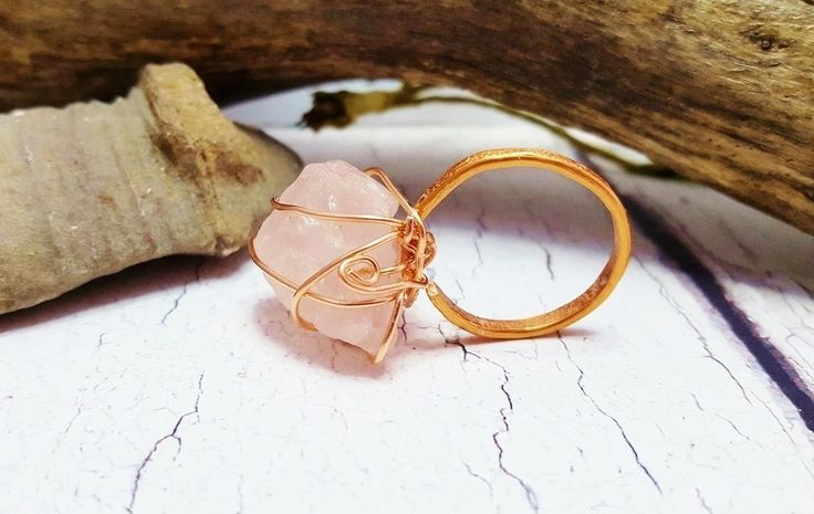 Raw Rose Quartz Ring ~ Rough Promise Ring ~ Chunky Stone Ring ~ 7th Anniversary Gift, Mothers Day Gift, Spring 2017 Boho Quartz Ring