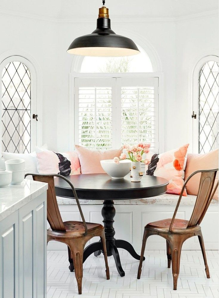 Breakfast Nook Pink Cushions | TheBestWoodFurniture.com