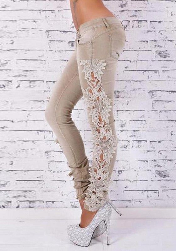 Khaki Lace Hollow-out Skinny Sexy Long Jeans