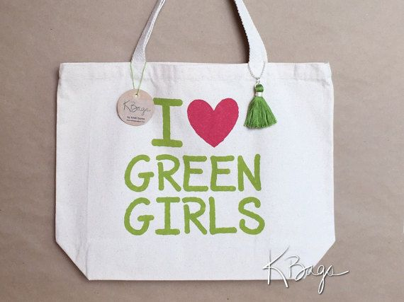 Hand-Painted Canvas Tote Bag  I Love Green Girls by KristiBags