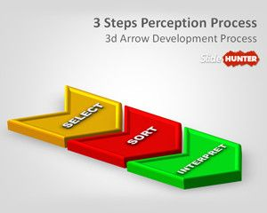 3D Three Steps Perception Process PowerPoint Template #ProcessFlow #3d #graphics #process #diagram #business #Powerpoint