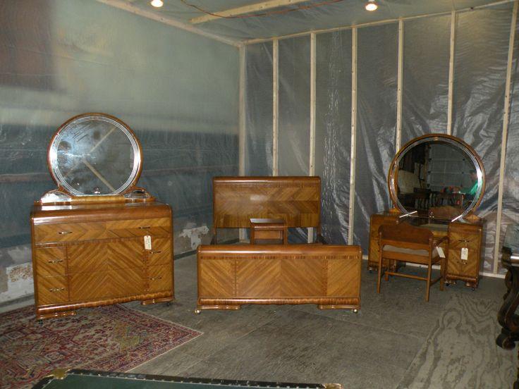 BEAUTIFUL! Antique Art Deco Waterfall Furniture Bedroom