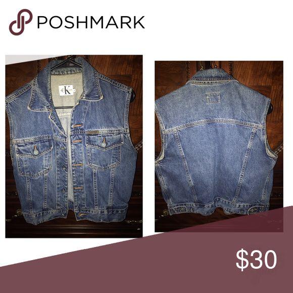 Calvin Klein Sleeveless Denim Jacket size medium Calvin Klein Sleeveless Denim Jacket size medium Calvin Klein Jackets & Coats Jean Jackets