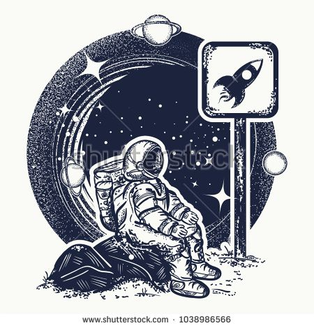 Astronaut in space tattoo and t-shirt design. Symbol of startup, space tourism, dream, imagination, space research. Spaceman waits for rise of  rocket tattoo art