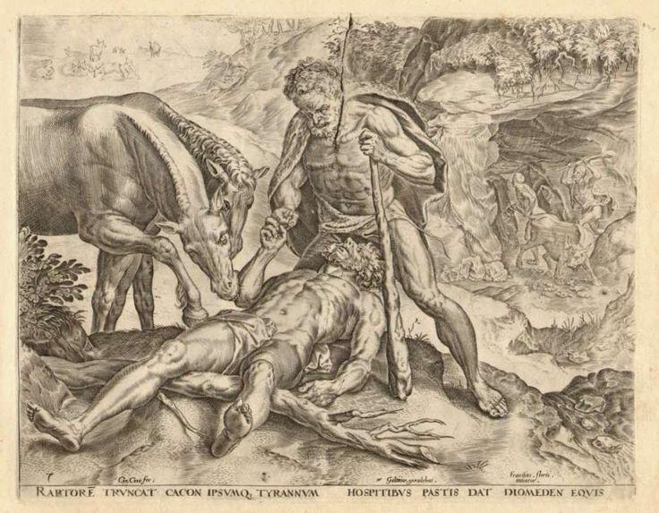 7.ΑΘΛΟΙ ΤΟΥ ΗΡΑΚΛΗ..Ο Ηρακλής σκοτώνει τον Διομήδη....[The Labours of Hercules.Cornelis Cort.1565.]