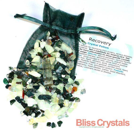 RECOVERY Healing Crystal Mix w Chlorite, Bloodstone, Beryl, PrehniteTumbled Stone Set -  Spiritual Recovery, Medicine Bag, Reiki