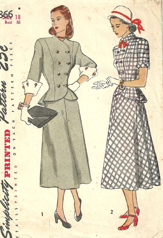 Simplicity 1866 is a vintage sewing pattern that was designed in 1946.  It makes a double breasted jacket with princess seams