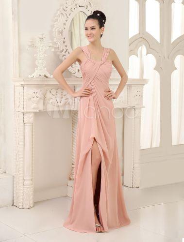 Vestido de damas de honor de chifón de color desnudo con tirantes - Milanoo.com