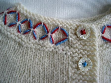 love the simple embroidery and the thread on the buttons.
