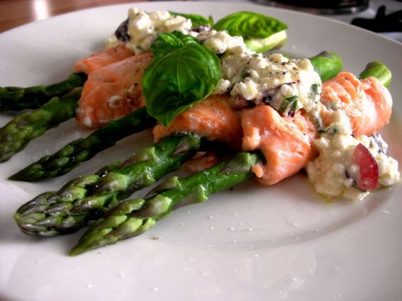Salmon And Asparagus In Cheese And Cherry Sauce