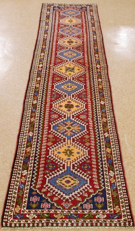 """2'8"""" x 12'11"""" PERSIAN YALAMEH Tribal Hand Knotted Wool RED Oriental Rug RUNNER"""