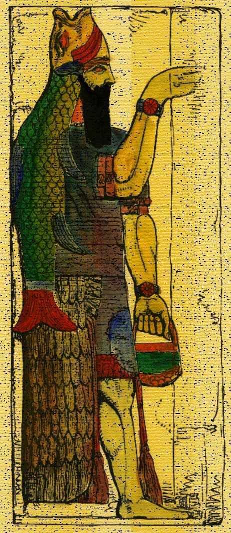 ( - p.mc.n.) The Babylonians had a myth that a being emerged from the Erythraean Sea who was part man and part fish and thus adopted the deity into their culture in their earliest days in history. Their have also been discoveries of the fish-god in the sculptures found in Nineveh, Assyria.