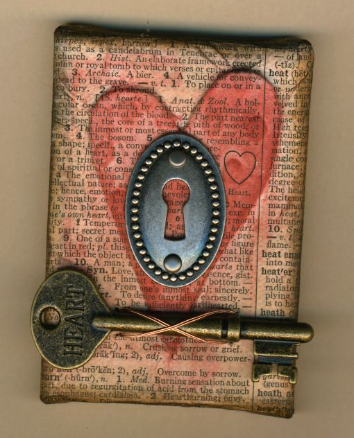 Altered Art with Heart and Skeleton Key.  ATC size canvas by amaryllisroze, via Flickr