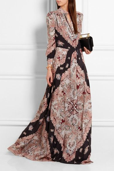Vilshenko | Gwen pleated printed silk crepe de chine maxi dress | NET-A-PORTER.COM