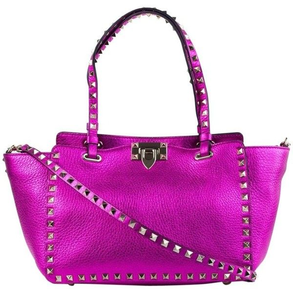 Preowned Valentino Women's Small Metallic Pink Rockstud Tote Bag ($1,359) ❤ liked on Polyvore featuring bags, handbags, tote bags, pink, shoulder bags, pink tote, purple shoulder bag, handbags totes, tote purses and valentino tote bag