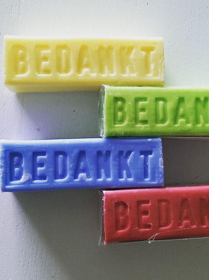 """Zeepstaaf met """"bedankt"""" gemaakt voor familiehotel De Lindeboom in Winterswijk."""