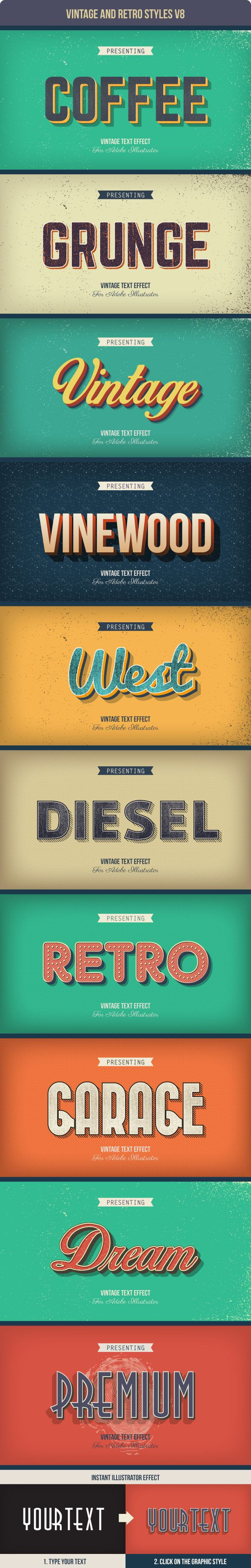 Vintage and Retro Text Styles for Adobe Illustrator #design #ai Download: http://graphicriver.net/item/vintage-and-retro-styles-v8/10418986?ref=ksioks