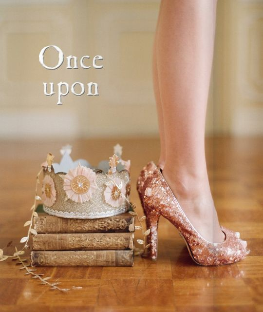 Glittery heels + vintage books = perfect