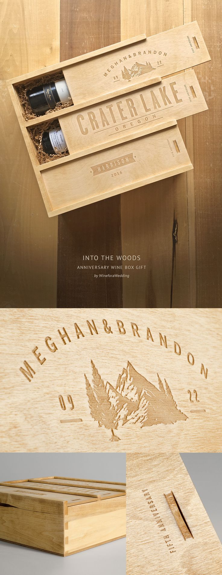 """Into The Woods"" — an Wedding Wine Box Gift inspired by the beauty of the great outdoors. Hand finished with a ""rustic treatment"" giving each one a rich, bronze color and authentically aged appearance. Perfect for couples that want to commemorate their wedding location or other momentous occasion. Personalize with their names, locale, dates and more. #wineforawedding"