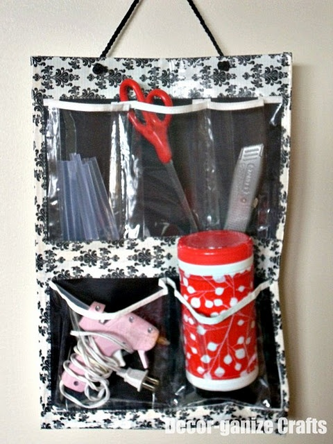 $1 store organizer + cute duct tape.  Great for craft supplies or organizing the car.: Cars Organic, Embellishments Shoes, Duct Tape Crafts, Shoes Organizer, Shoes Organic, Decorgan Crafts, Crafts Organic, Decor Gan Crafts, Crafts Supplies