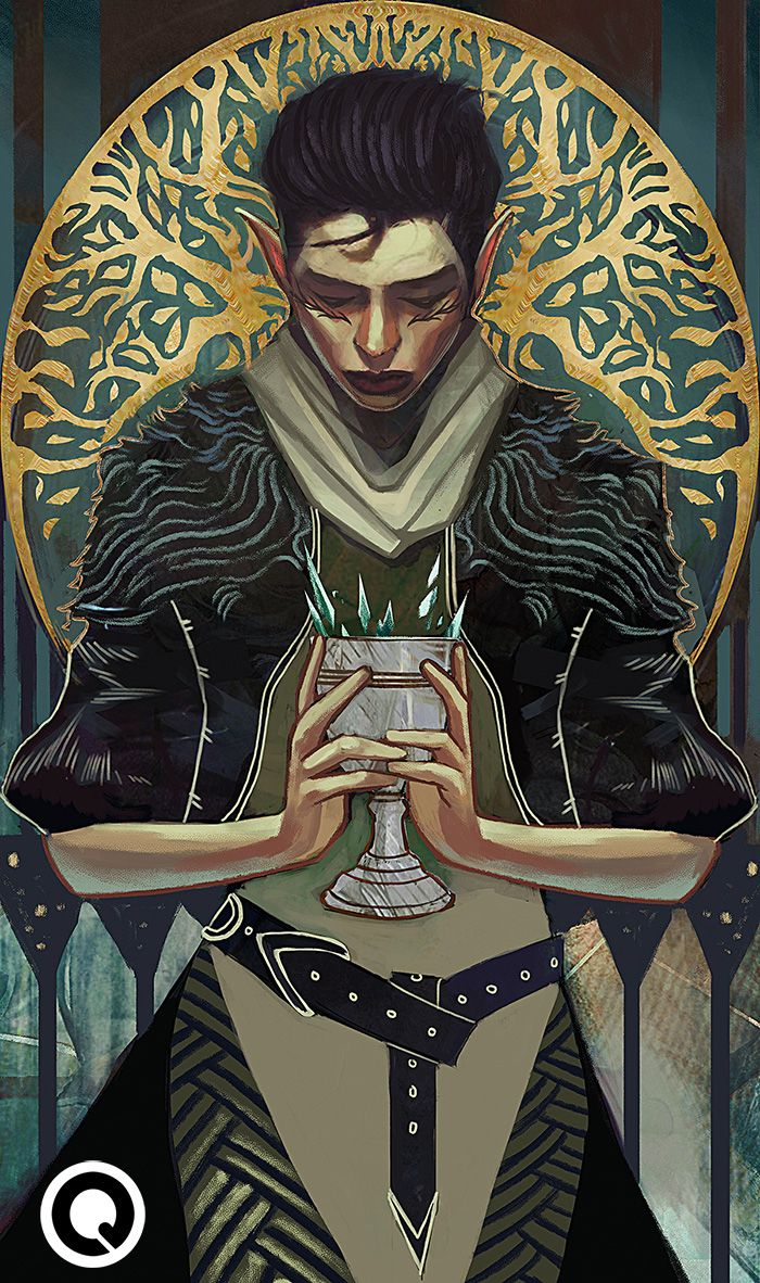 """'Ace of Cups' Lavellan tarot commission requested by @cityelfsedition! Thanks for the support (: """" Do contact me at qkhalidah@gmail.com for commission enquiries! :) """""""