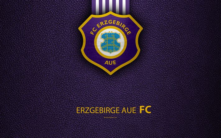 Download wallpapers FC Erzgebirge Aue, 4k, leather texture, German football club, logo, Aue, Germany, Bundesliga 2, second division, football
