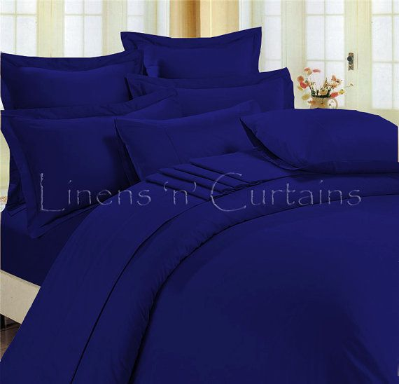 ROYAL BLUE Duvet Cover Set 3 pc Egyptian Cotton by softlinens, $74.50