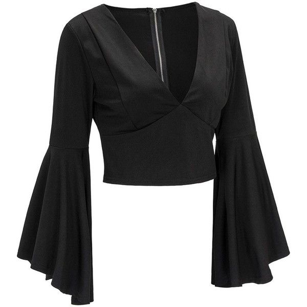 Zippered Fitted Flare Sleeve Crop Top Black ($22) ❤ liked on Polyvore featuring tops, bell sleeve tops, flared sleeve crop top, zip top, crop top and cut-out crop tops