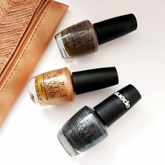 Gypsy Nights | OPI Nail Polish Set of three OPI nail polishes. Includes: * You Don't Know Jaques - Dark Taupe * Golden Rules - Gold Metallic * Suzi Ski's in the Pyrenees - Pewter Suede  All shades worn fewer than three times. Opi Makeup