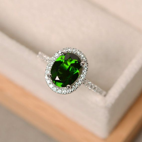 Chrome Diopside Ring Engagement Oval Cut Halo By Luojewelry