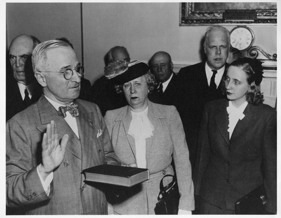 the truman family as harry s truman is sworn in as president of the united