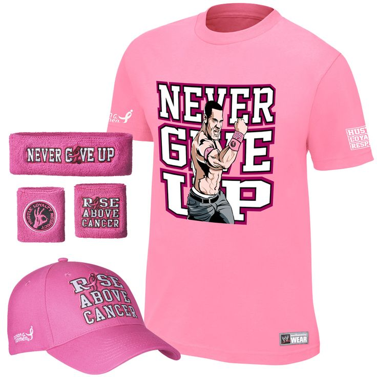 """John Cena """"Rise Above Cancer"""" Pink Authentic T-Shirt Package #WWE"""