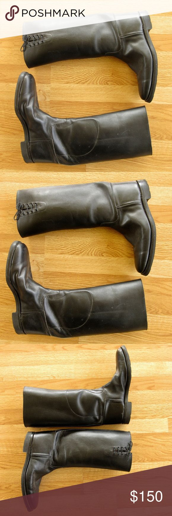 """Vintage Men's Equestrian Boots Made in England, 13 Simply the best, vintage men's equestrian / riding boots.  High quality.  Very well made.  Lace up calf.  Pull on style.  All leather uppers.    Stamped on inside, """"Made in England, Size 13"""".  Measures 13.5"""" long from heel to toe on outside of sole.  Ball measures 4.5"""".  Excellent condition with very little wear.  Dressage ready!  Stamped on sole:  """"The Medway, Dainite, Bar Sole, Made in England"""". Vintage Made in England Shoes Boots"""