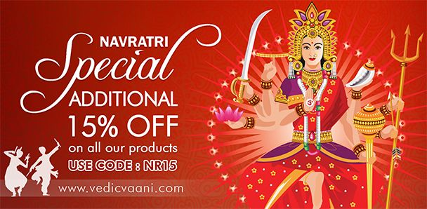 VedicVaani.com gives special discount offer for this navratri festival 2017. On any purchase of religious and spiritual products like chunris, deity idols, incense sticks and many more get discount of 15%/reward points/cashback