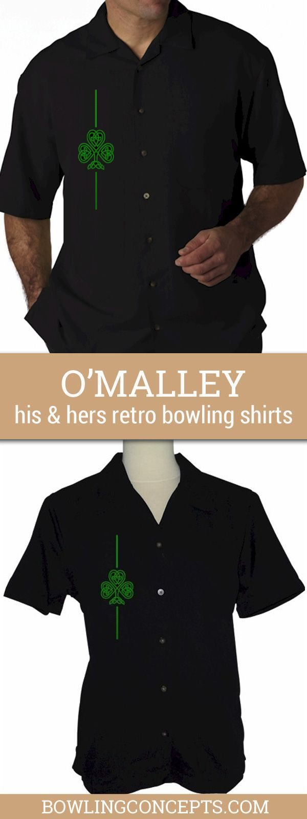 Black with Celtic Shamrock Embroidery Left Chest Pocket, Button Up Retro Bowling Shirt. Ladies who love Vegas, will love this shirt. Fit is casual and comfortable so you are sure to win the big one.
