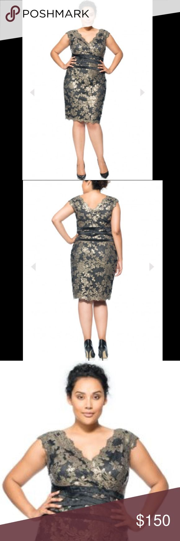 """NEW $368 PAILLETTE EMBROIDERED LACE BANDED DRESS NEW With Tags $368 PAILLETTE EMBROIDERED LACE BANDED DRESS SIZE 22Q  Featuring a sexy V-neck and sparkly paillette-embroidered lace, this romantic sequin number is an eye-catching cocktail choice. A fitted silhouette & banding at the waist add a modern, waist-defining touch. All that's needed is a smoky eye and black stilettos. Color: Smoke Pearl / Black Approx. Length from Shoulder is 40"""" Dry Clean Tadashi Shoji Dresses Midi"""
