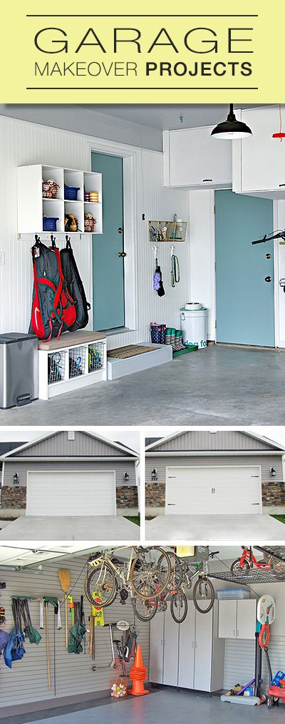 Garage Makeover Projects • Lots of tips and ideas from garage organization to mudrooms to garage door makeovers!#garageorganization #Organizedgarage #GarageMakeovers #HowtoOrganizeYourGarage