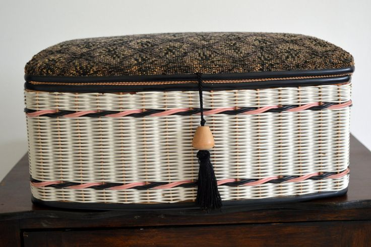 Original Large 60s/70s Fabric Weaved Wood Plastic Sewing Basket Box Storage by LaMaisonShabbyChic on Etsy