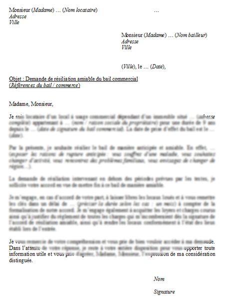 modele resiliation anticipee bail commercial a l amiable | Modèles de lettres, Lettre a, Exemple ...
